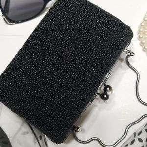 Talbots Black Beaded Evening Bag/Clutch